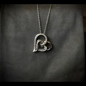 Tilted Double Heart Sterling Silver Necklace Zales